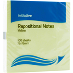 INITIATIVE REPOSITIONAL NOTES 76 X 76MM YELLOW PACK 12