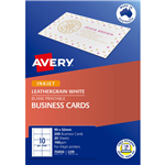 AVERY 70450 IJ39 LEATHERGRAIN BUSINESS CARD 200GSM 90 X 52MM WHITE PACK 200