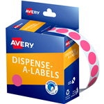 AVERY 937241 ROUND LABEL DISPENSER 14MM PINK BOX 1050
