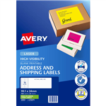 AVERY 35932 L7162FG HIGH VISIBILITY SHIPPING LABEL LASER 16UP FLUORO GREEN PACK 25