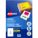 AVERY 35999 L7167FY HIGH VISIBILITY SHIPPING LABEL LASER 1UP FLUORO YELLOW PACK 25