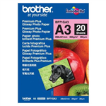 BROTHER BP71G PREMIUM PLUS GLOSSY PHOTO PAPER 260GSM A3 WHITE PACK 20