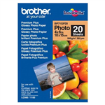 BROTHER BP71G PREMIUM PLUS GLOSSY PHOTO PAPER 260GSM 152 X 102MM WHITE PACK 20