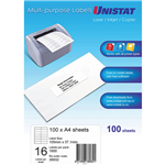 UNISTAT 38932 MULTIPURPOSE LABEL 16UP 105 X 37MM WHITE PACK 100