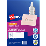 AVERY 936005 J8563 INKJET LABEL 991 X 381MM 14UP CLEAR WITH MATT FINISH PACK 25