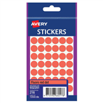 AVERY 932281 MULTIPURPOSE STICKERS CIRCLE 12MM FLURO RED PACK 216