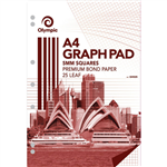 OLYMPIC GH525 GRAPH PAD 5MM SQUARES 70GSM 25 LEAF A4