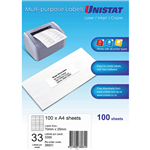 UNISTAT 38931 MULTIPURPOSE LABEL 33UP 70 X 25MM WHITE PACK 100