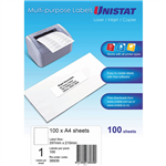 UNISTAT 38939 MULTIPURPOSE LABEL 1UP 297 X 210MM WHITE PACK 100