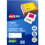 AVERY 35937 L7163FG HIGH VISIBILITY SHIPPING LABEL LASER 14UP FLUORO GREEN PACK 25
