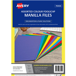 AVERY 88150 MANILLA FOLDER FOOLSCAP ASSORTED COLOURS PACK 20