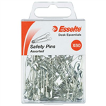ESSELTE SAFETY PINS ASSORTED PACK 60