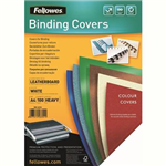 FELLOWES BINDING COVER LEATHERGRAIN 230GSM A4 WHITE PACK 100