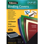 FELLOWES BINDING COVER LEATHERGRAIN 230GSM A4 BLACK PACK 100