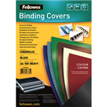 FELLOWES CHROMOLUX BINDING COVER 250GSM A4 GLASS BLACK PACK 100