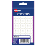 AVERY 932001 MULTIPURPOSE STICKERS CIRCLE 8MM WHITE PACK 624