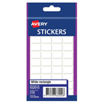 AVERY 932015 MULTIPURPOSE STICKERS RECTANGLE 12 X 18MM WHITE PACK 216