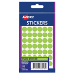 AVERY 932282 MULTIPURPOSE STICKERS CIRCLE 12MM FLURO GREEN PACK 216