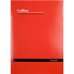 COLLINS A24 SERIES ACCOUNT BOOK DOUBLE LEDGER FEINT RULED STAPLED 24 LEAF A4 RED