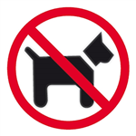 APLI SELF ADHESIVE SIGN DOGS FORBIDDEN 114MM BLACKRED