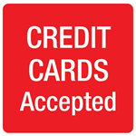 APLI SELF ADHESIVE SIGN CREDIT CARDS ACCEPTED 114MM REDWHITE