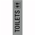 APLI SELF ADHESIVE SIGN TOILETS 50 X 202MM GREYBLACK