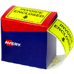 AVERY 932619 MESSAGE LABEL INVOICE ENCLOSED 75 X 996MM FLUORO YELLOW PACK 750