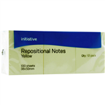 INITIATIVE REPOSITIONAL NOTES 40 X 50MM YELLOW PACK 12