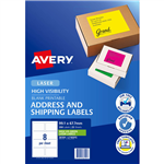 AVERY 36104 L7165FG HIGH VISIBILITY SHIPPING LABEL LASER 8UP FLUORO GREEN BOX 25