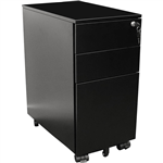 GO STEEL SLIMLINE MOBILE PEDESTAL 3 DRAWER 300 X 472 X 610MM BLACK