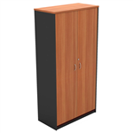 OM FULL DOOR STATIONERY CUPBOARD 900 X 450 X 1800MM CHERRYCHARCOAL