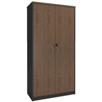 OM PREMIER FULL DOOR STATIONERY CUPBOARD 900 X 450 X 1800MM REGAL WALNUTCHARCOAL